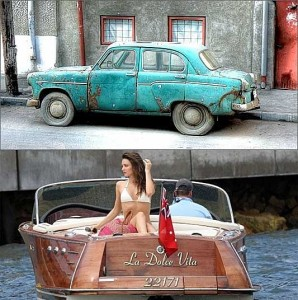 Junk car and speed boat with bikini babe.
