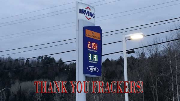 Frackers help bring down gasoline prices by 25% in a month.