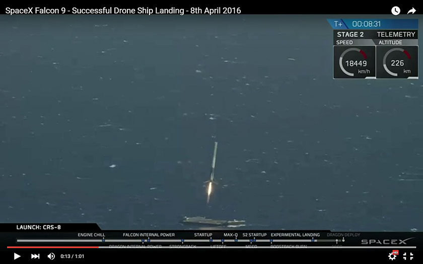 success - SpaceX stage 1 landing